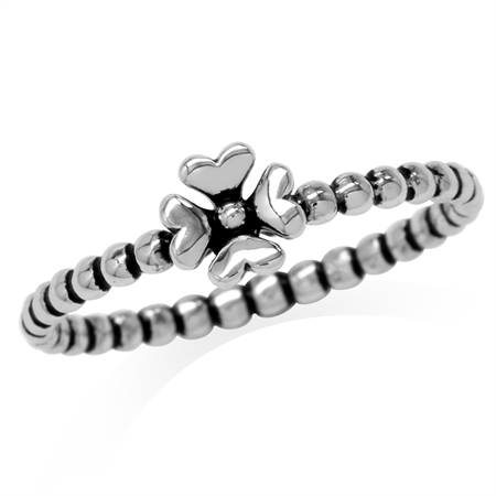 925 Sterling Silver Bead Ball Four-Leaf Clover Stack/Stackable Ring