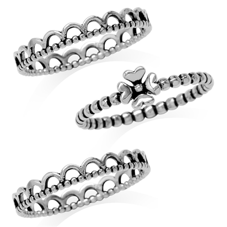 3-Pc Set 925 Sterling Silver Bead Ball Four-Leaf Clover Eternity Band Stack/Stackable Ring