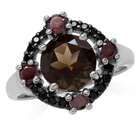 Natural Round Shape Smoky Quartz, Garnet & Black Spinel White Gold Plated 925 Sterling Silver Ring
