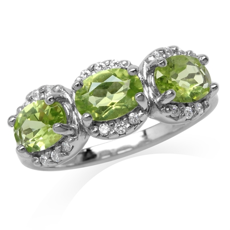 2.64ct. 3-Stone Natural Oval Shape Peridot White Gold Plated 925 Sterling Silver Ring