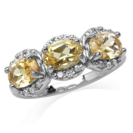 2.22ct. 3-Stone Natural Oval Shape Citrine White Gold Plated 925 Sterling Silver Ring