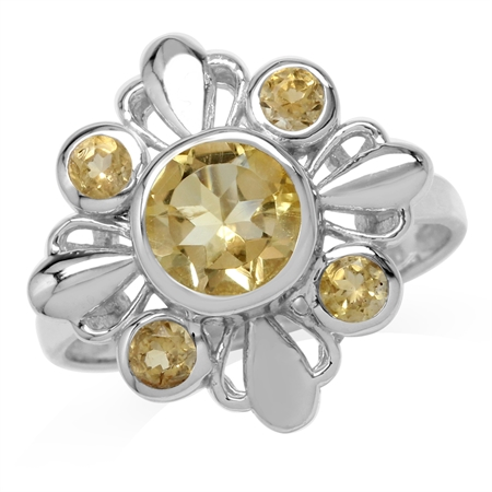 1.65ct. Natural Round Shape Citrine White Gold Plated 925 Sterling Silver Flower Ring