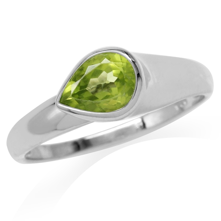 Natural Pear Shape Peridot White Gold Plated 925 Sterling Silver Modern Style Ring
