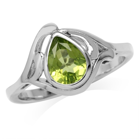 1.2ct. Natural Pear Shape Peridot White Gold Plated 925 Sterling Silver Solitaire Ring