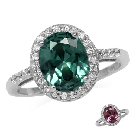 10x8MM Oval Shape Simulated Color Change Alexandrite 925 Sterling Silver Halo Engagement Ring