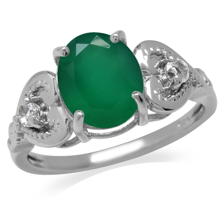 2.32ct. Natural Emerald Green Agate & White Topaz 925 Sterling Silver Heart Victorian Style Ring