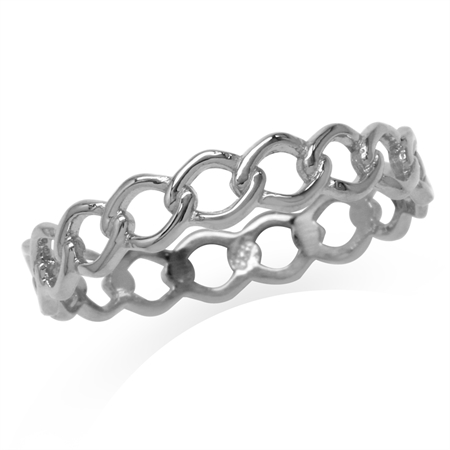 White Gold Plated 925 Sterling Silver Eternity Knot Band Stack/Stackable Ring
