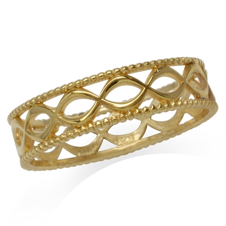 14K Gold Plated 925 Sterling Silver Filigree Eternity Band Stack/Stackable Ring