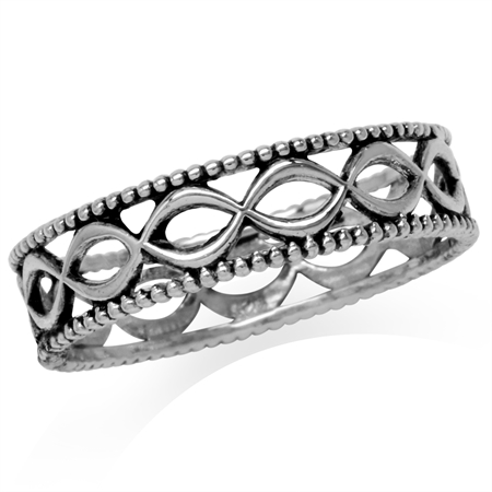 Antique Finishing 925 Sterling Silver Filigree Eternity Band Stack/Stackable Ring