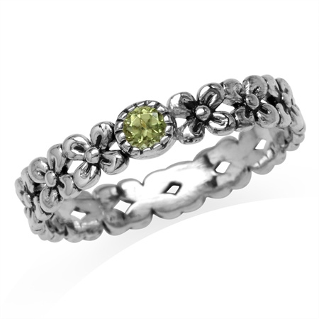 Petite Natural Peridot 925 Sterling Silver Flower Stack/Stackable Eternity Ring
