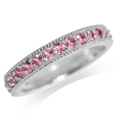 Natural Pink Tourmaline White Gold Plated 925 Sterling Silver Journey Ring