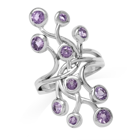 1.46ct. Amethyst White Gold Plated 925 Sterling Silver Ribbon Knot/Weave Wide Front Crawler Ring