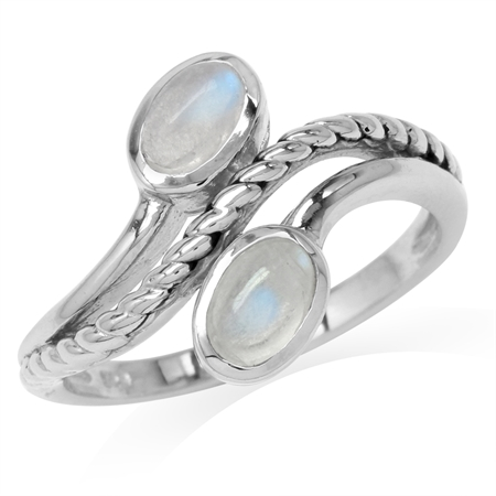 Natural Oval Shape Moonstone 925 Sterling Silver Rope Bypass Ring