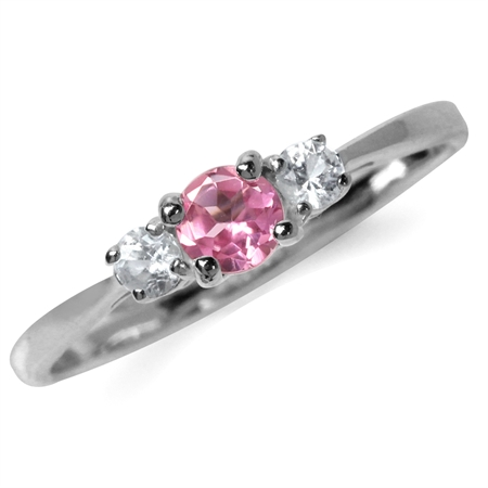 Petite Genuine Pink Tourmaline & White Topaz Gold Plated 925 Sterling Silver Promise Ring