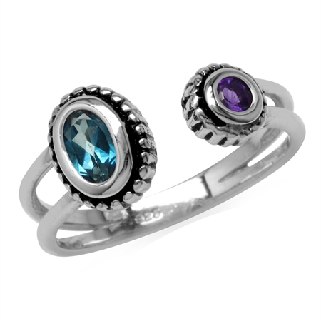 Genuine London Blue Topaz & African Amethyst 925 Sterling Silver Bali/Balinese Style Open Front Ring
