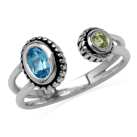 Genuine Swiss Blue Topaz & Peridot 925 Sterling Silver Bali/Balinese Style Open Front Ring