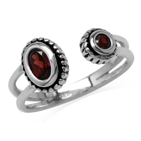 Natural Garnet 925 Sterling Silver Bali/Balinese Style Open Front Ring