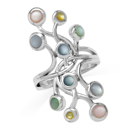 Multi Colored Mother Of Pearl 925 Sterling Silver Ribbon Knot/Weave Wide Front Crawler Ring