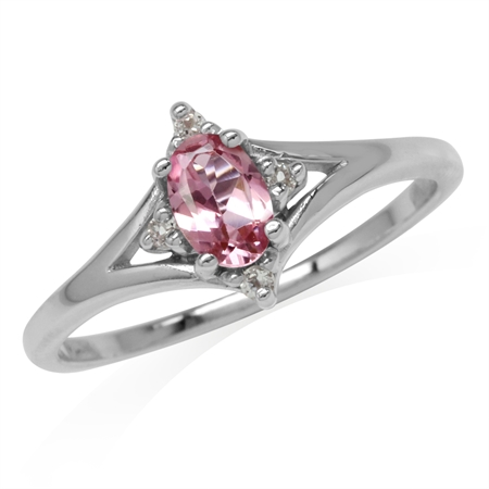 Petite Natural Pink Tourmaline & White Topaz 925 Sterling Silver Ring