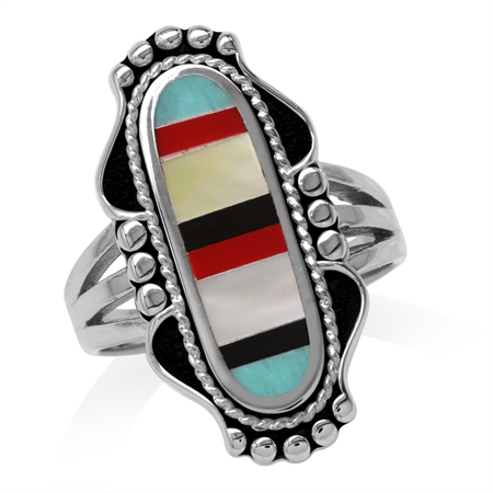 Mother Of Pearl, Created Turquoise, Onyx & Coral Inlay 925 Sterling Silver Baroque Inspired Ring