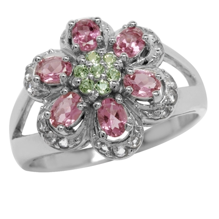 Natural Tourmaline, Peridot & White Topaz 925 Sterling Silver Flower Ring