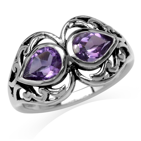 1.26ct. 7x5MM Natural Pear Shape Amethyst 925 Sterling Silver Filigree Ring