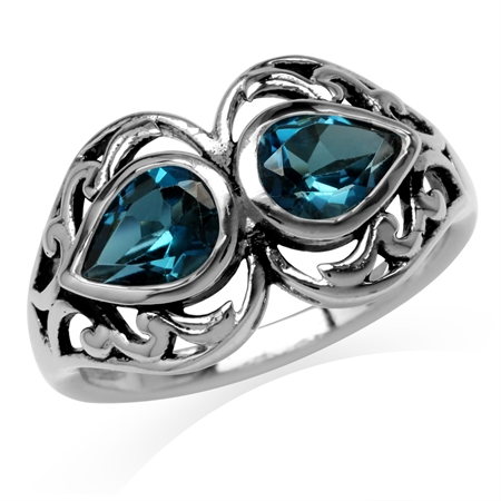 1.68ct. 7x5MM Genuine Pear Shape London Blue Topaz 925 Sterling Silver Filigree Ring