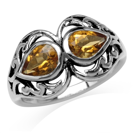 1.26ct. 7x5MM Natural Pear Shape Citrine 925 Sterling Silver Filigree Ring