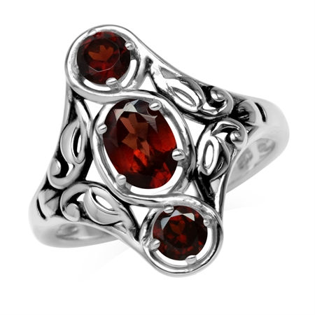 1.54ct. 3-Stone Natural Garnet 925 Sterling Silver Filigree Ring
