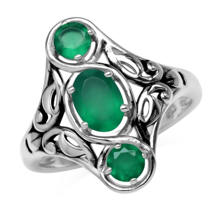 1.15ct. 3-Stone Natural Emerald Green Agate 925 Sterling Silver Filigree Ring