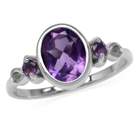 1.72ct. 9x7MM Natural Oval Shape African Amethyst White Gold Plated 925 Sterling Silver Ring