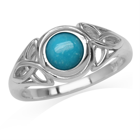 6MM Genuine Round Arizona Turquoise White Gold Plated 925 Sterling Silver Triquetra Celtic Knot Ring