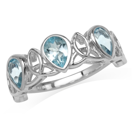 2.49ct. 3-Stone Genuine Pear Shape Blue Topaz 925 Sterling Silver Triquetra Celtic Knot Ring