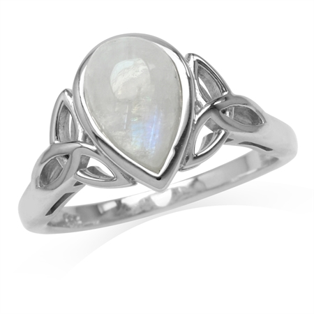 10x7MM Natural Pear Shape Moonstone White Gold Plated 925 Sterling Silver Triquetra Celtic Knot Ring
