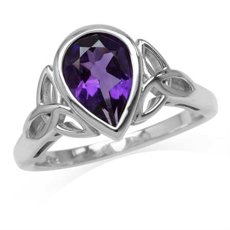 1.72ct. 10x7MM Natural Pear Shape African Amethyst 925 Sterling Silver Triquetra Celtic Knot Ring