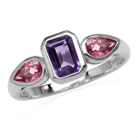 Natural Octagon Shape Amethyst & Pink Tourmaline White Gold Plated 925 Sterling Silver Ring