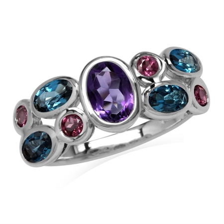 Natural Amethyst, Rhodolite Garnet & London Blue Topaz 925 Sterling Silver Cluster Cocktail Ring
