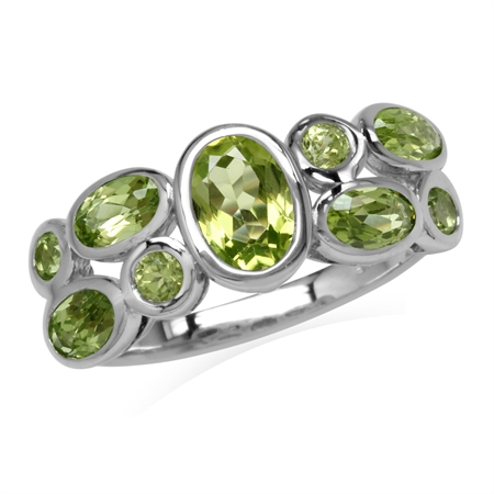 2.16ct. Natural Peridot White Gold Plated 925 Sterling Silver Bezel Set Cluster Ring
