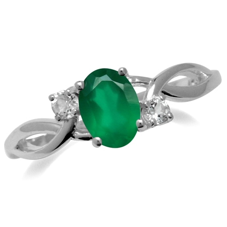 Natural Emerald Green Agate & White CZ Gold Plated 925 Sterling Silver Engagement Ring