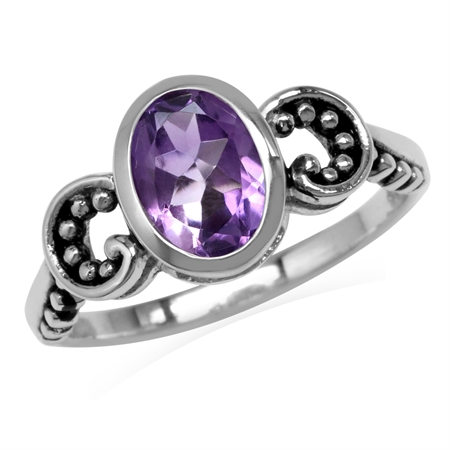 1.13ct. 8x6MM Natural Oval Shape Amethyst 925 Sterling Silver Bali/Balinese Style Solitaire Ring
