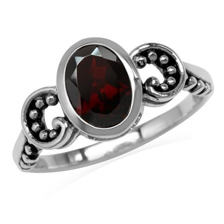 1.46ct. 8x6MM Natural Oval Shape Garnet 925 Sterling Silver Bali/Balinese Style Solitaire Ring