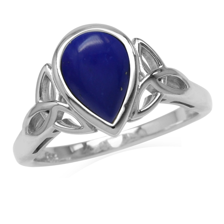 10x7MM Pear Created Blue Lapis White Gold Plated 925 Sterling Silver Triquetra Celtic Knot Ring