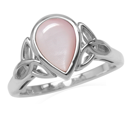 10x7MM Pear Shape Pink Mother Of Pearl 925 Sterling Silver Triquetra Celtic Knot Ring