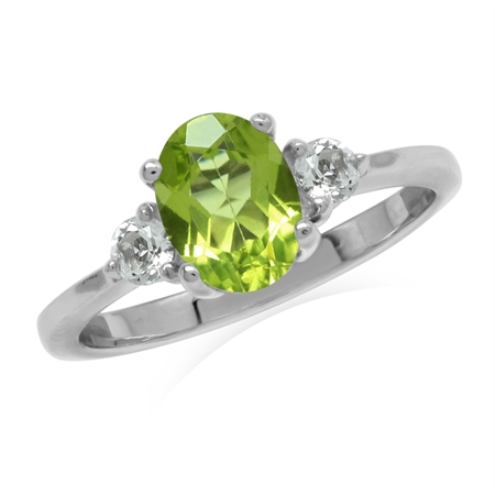 1.44ct. Natural Peridot White Gold Plated 925 Sterling Silver Engagement Ring