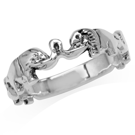 5MM 925 Sterling Silver Elephant Casual Journey Ring