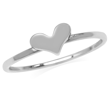 Petite 925 Sterling Silver Heart Casual Love Teens/Girls Ring
