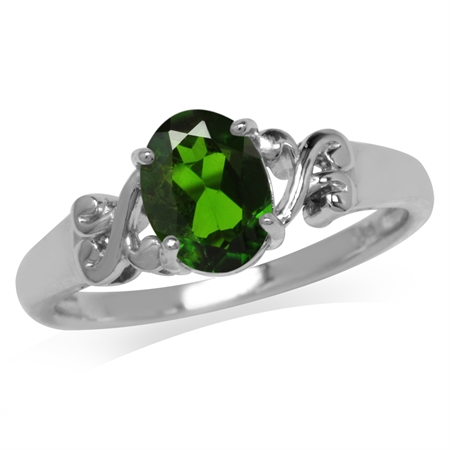 1.15ct. Green Chrome Diopside 925 Sterling Silver Victorian Style Solitaire Ring