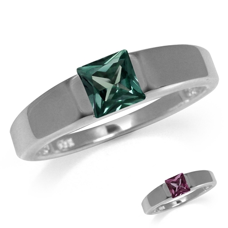 5MM Square Shape Simulated Color Change Alexandrite 925 Sterling Silver Solitaire Ring