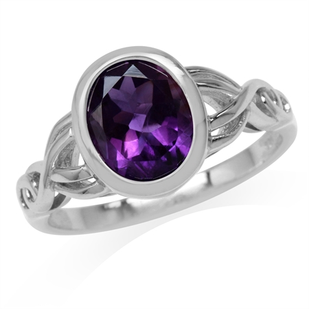 2.41ct. 10x8MM Oval Natural African Amethyst White Gold Plated 925 Sterling Silver Celtic Knot Ring