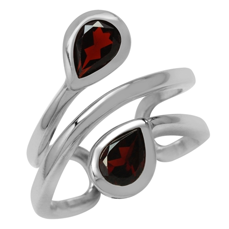 1.7ct. Natural Pear Shape Garnet White Gold Plated 925 Sterling Silver Double Line Cuff Ring